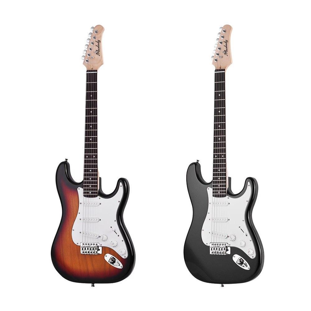 Muslady guitare électrique bois massif Paulownia corps érable cou 21 frettes 6 cordes avec haut-parleur Pitch Pipe guitare sac sangle pics - 4