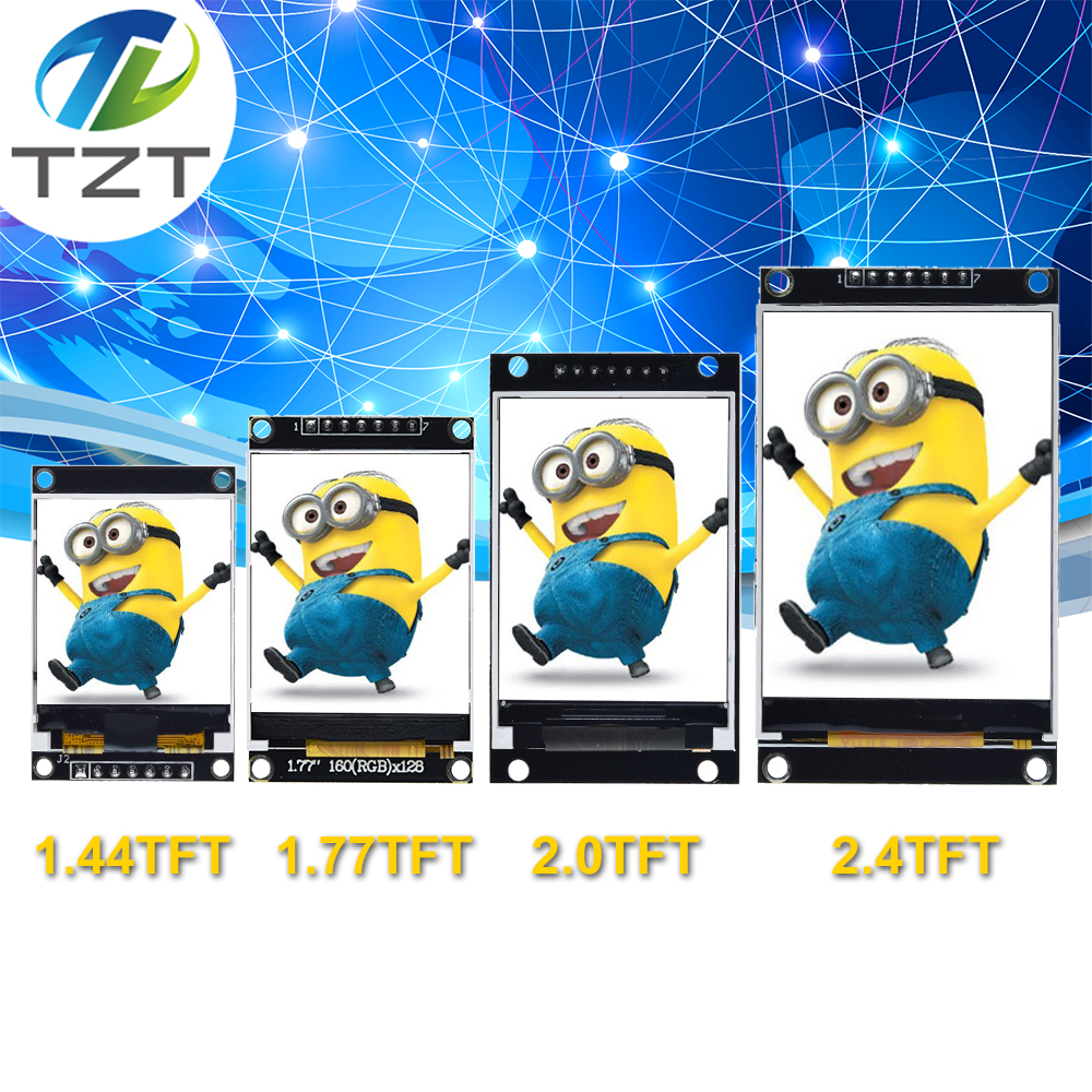 "Tzt 1.44/1.77/2.0/2.4/2.8 ""Polegada tft tela colorida módulo de exibição lcd unidade st7735 ili9225 ili9341 interface spi 128*128 240*320"