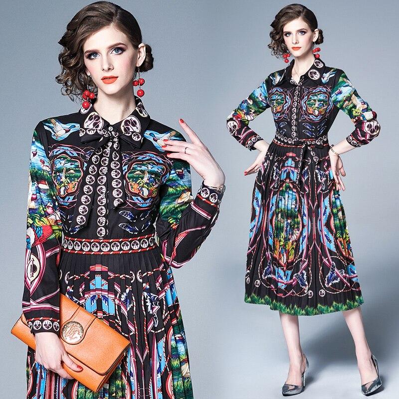 Quality Fashion Designer Runway Dress 2019 Summer Women's Short Sleeve Vintage Floral Printed Casual Elegant Dress