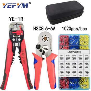 Crimp tool set HSC8 6-6/6-4 pliers for tube terminal 1020pcs/box multifunctional stripping cutting wire pliers black tool kit