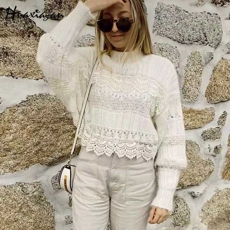 Huaxiafan solid sweater turtleneck pullovers white batwing long sleeve female hollow out tops autumn loose elegant women pull