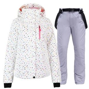 Image 2 - Ensemble de combinaison de snowboard pour femme, noir et blanc, veste + bavoir, pantalon de neige, étanche, coupe vent, hiver, respirant