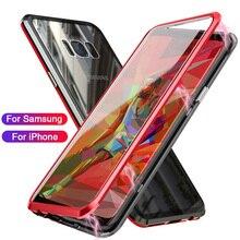 Manyetik adsorpsiyon Metal samsung kılıfı Galaxy S8 S9 S10 artı S10E not 8 9 M20 M10 A30 A50 A10 M30 Lite temperli cam kapak