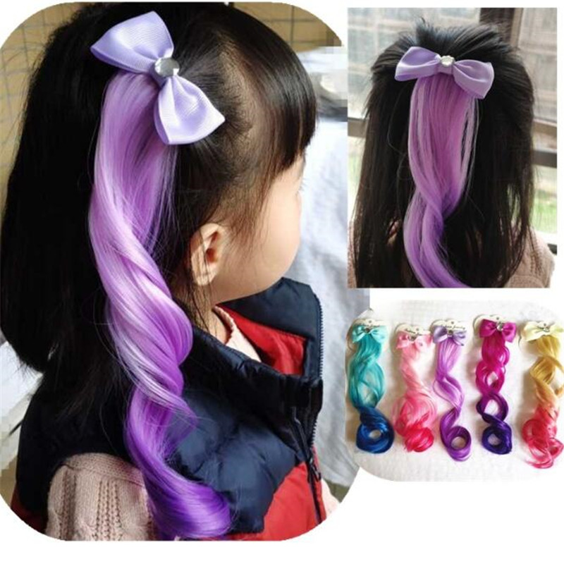 2019 Hair Accessories Colorful Bowtie Hair Clips For Girls Rainbow Glitter Wings Hair Bows Princess Kids Long Wig Hairpins Gifts
