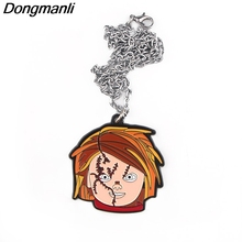 P4001 Dongmanli Fashion Childs Play Pendants Necklaces Cute Enamel Metal Pendant Chokers Necklace For Movie Fans Gifts