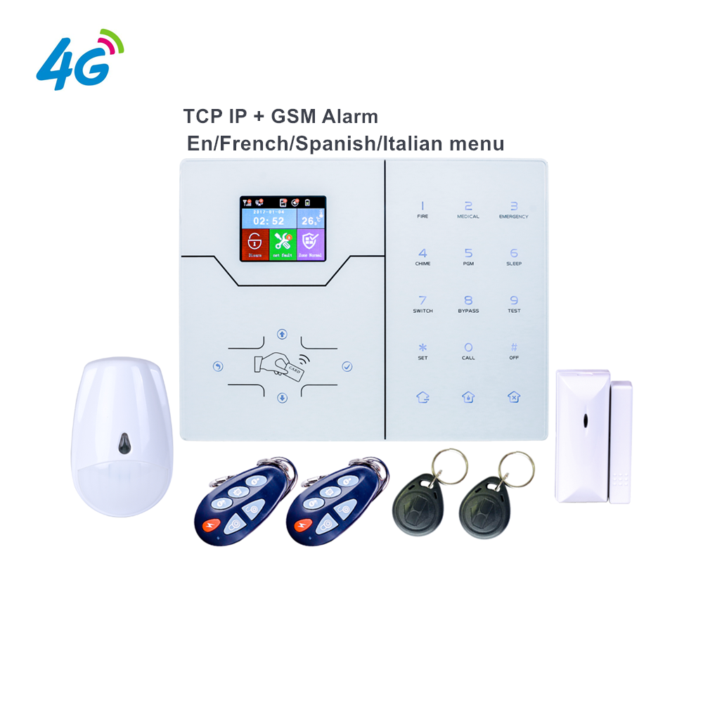 4G GSM Alarm English French Text Menu Alarm RJ45 TCP IP Alarm GSM Smart Home Alarm System WebIE App Control Push Notification