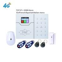 4g gsm alarme inglês francês texto menu alarme rj45 tcp ip alarme gsm casa inteligente sistema de alarme webie app controle push notificação