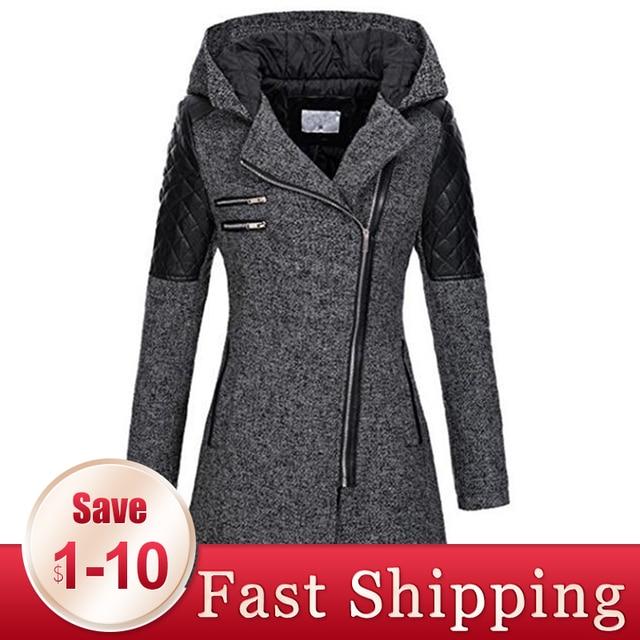 Women Winter Hooded Coat Autumn Zipper Slim Outerwear Spring Fashion Patchwork Black Female Warm Windproof Overcoats 1