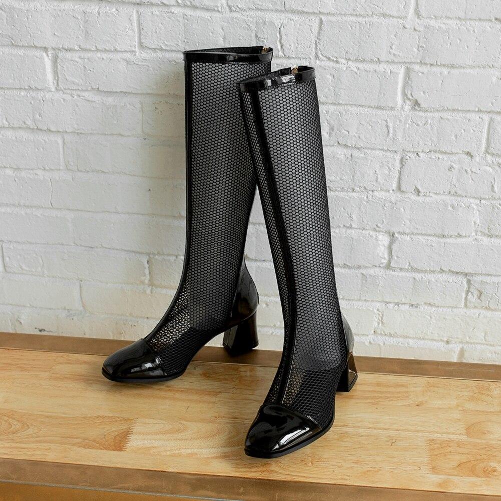 de verão malha respirável joelho botas femininas