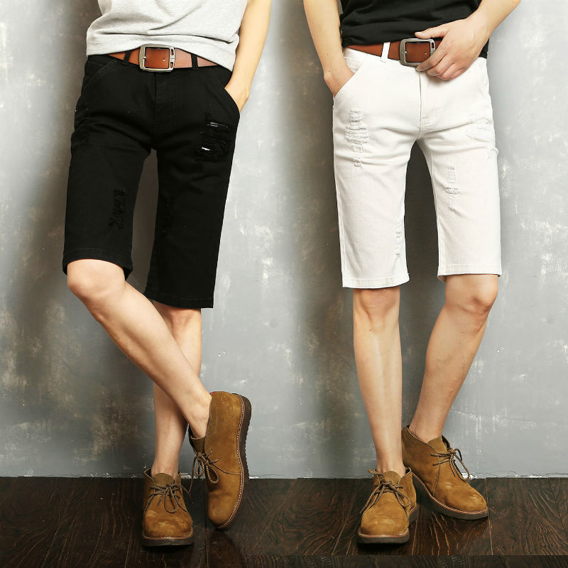 2019 New Style Trend Men Casual With Holes Jeans Summer Shorts Youth Versatile Men's Shorts