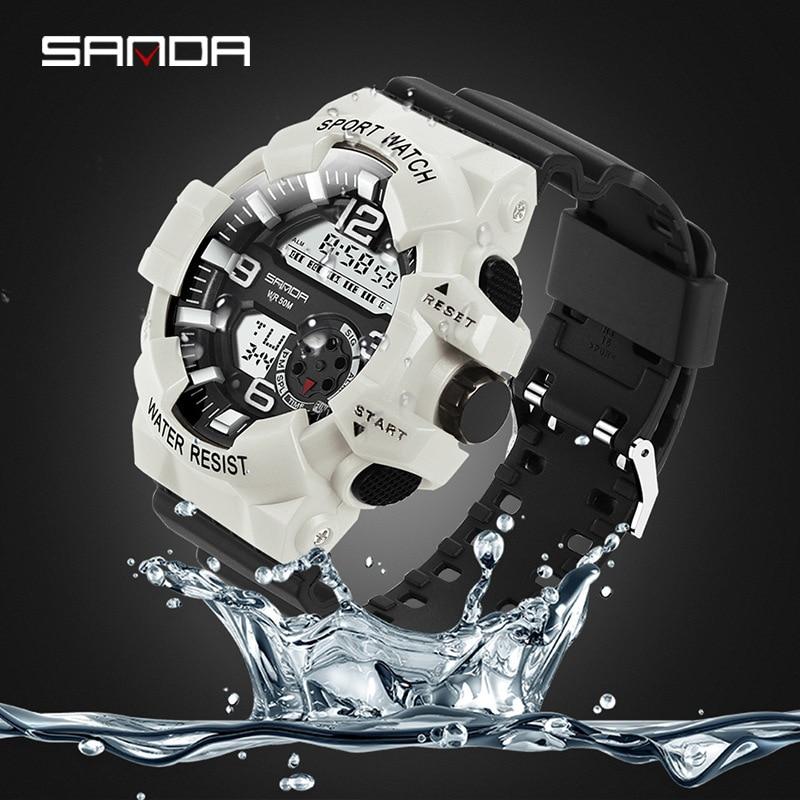 Men Digital Wristwatch Japan Movement 50m Waterproof Luminous Black White Women Student Boys Girls Outdoor Sport Digital Watch