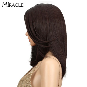 Image 3 - Synthetic Lace Front Wig Long Straight Bob wig 18Inch Right Part Ombre Bob Heat Resistant Synthetic Wigs For Women Miracle wig