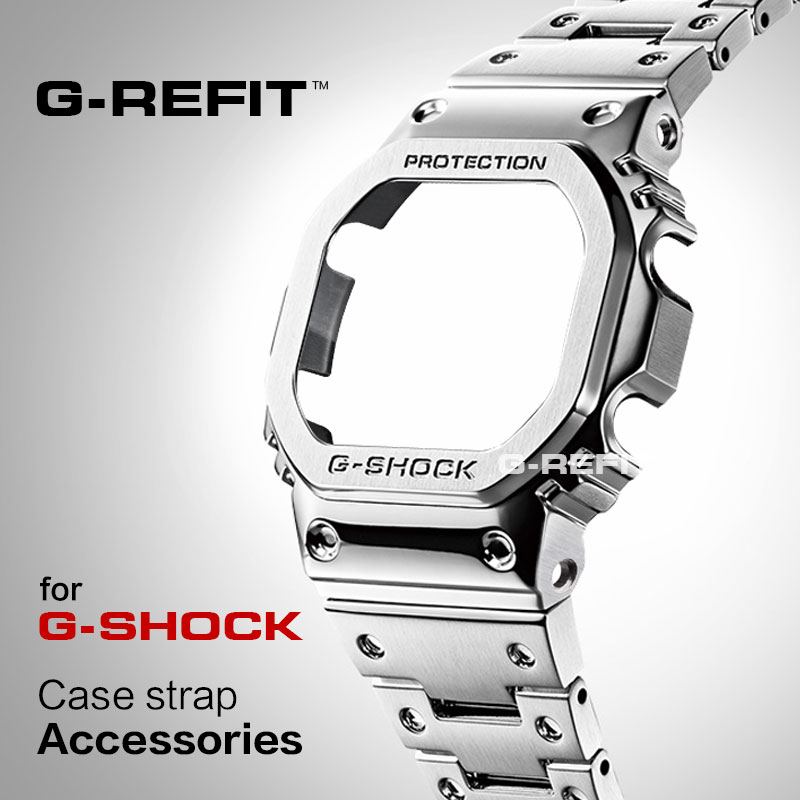 G-Refit Stainless-Steel Metal-Strap Free-Tools Watchband-Case/bezel DW5600 DW/GW5000