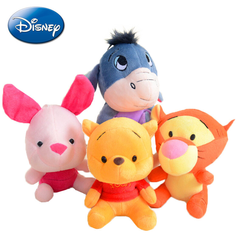 Disney 12-18cm Winnie the Pooh Bear Anime Cute Cartoon Plush Dolls Toys Keychain Pendant Kids Birthday Gift