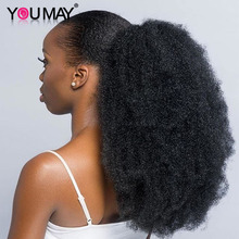Drawstring Ponytail Human-Hair-Extensions Afro Kinky Clip Ins Natural-Black Curl
