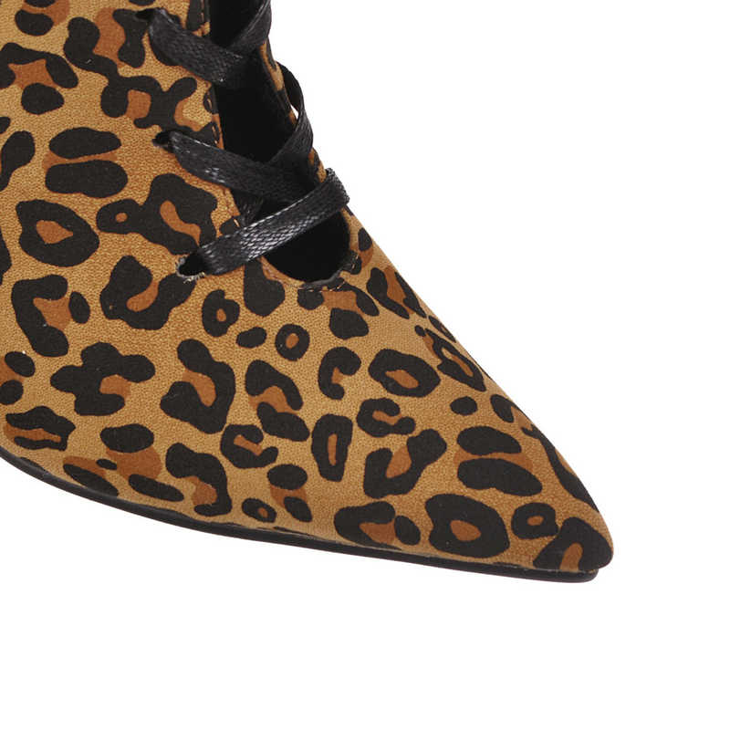 Seksi Orta Buzağı Çizmeler Stilettos Yüksek Topuklu Kadın yarım çizmeler Sivri Burun Sonbahar Kış dantel-up Botları 2019 Bej leopar siyah ayakkabı