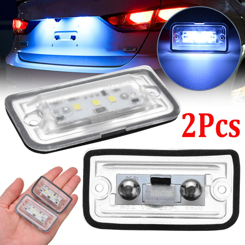 Car license Plate Lights 2pcs LED Number Plate Light 6000K Super Bright License Plate Frame For Mercedes Benz C W203 CLK W209 SL