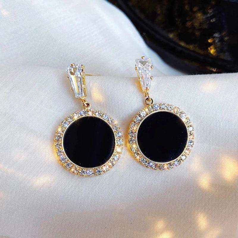 2020 New Style Versatile Simple Earrings Circle Man Made Diamond Ear Stud South Korea Cool Elegant Women S Ear Stud Stud Earrings Aliexpress