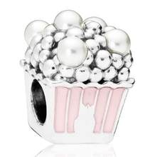 Original 925 Sterling Silver Bead Charm Pink Enamel Delicious Popcorn Pearls With Crystal Beads Fit Women Pandora Bracelet & Necklace Jewelry(China)