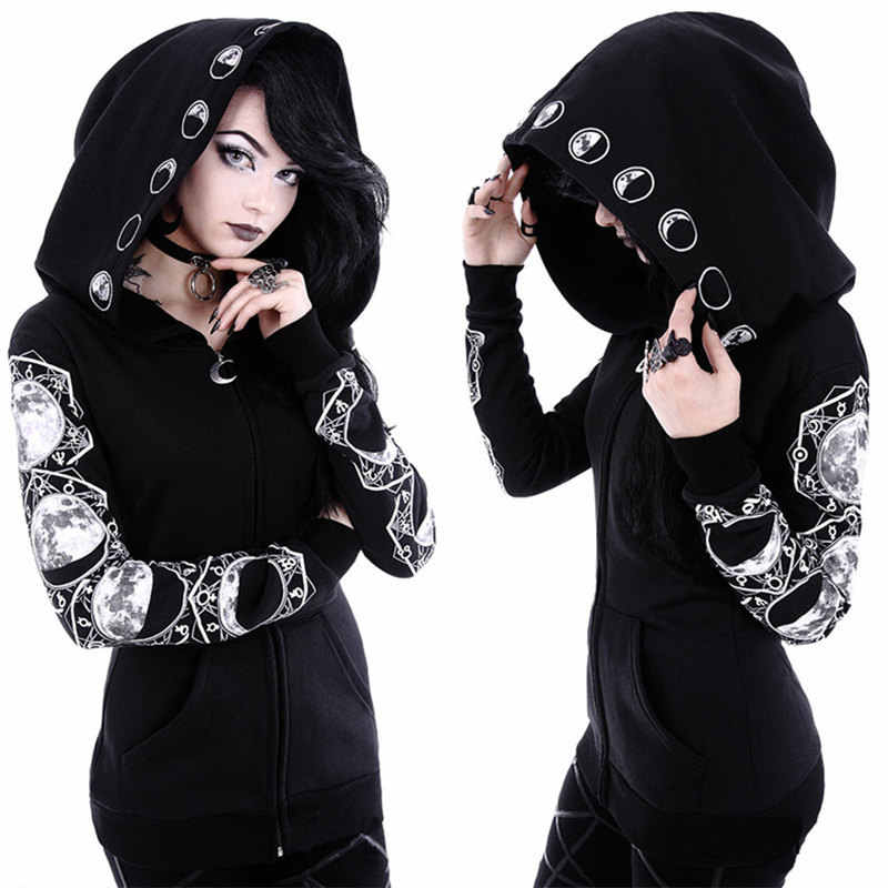 Women Black Long Sleeve Casual Hoodies Punk Gothic Coat Clothes Witch Moon Girls Oversized Hoodie Sweatshirt Zipper Plus Size