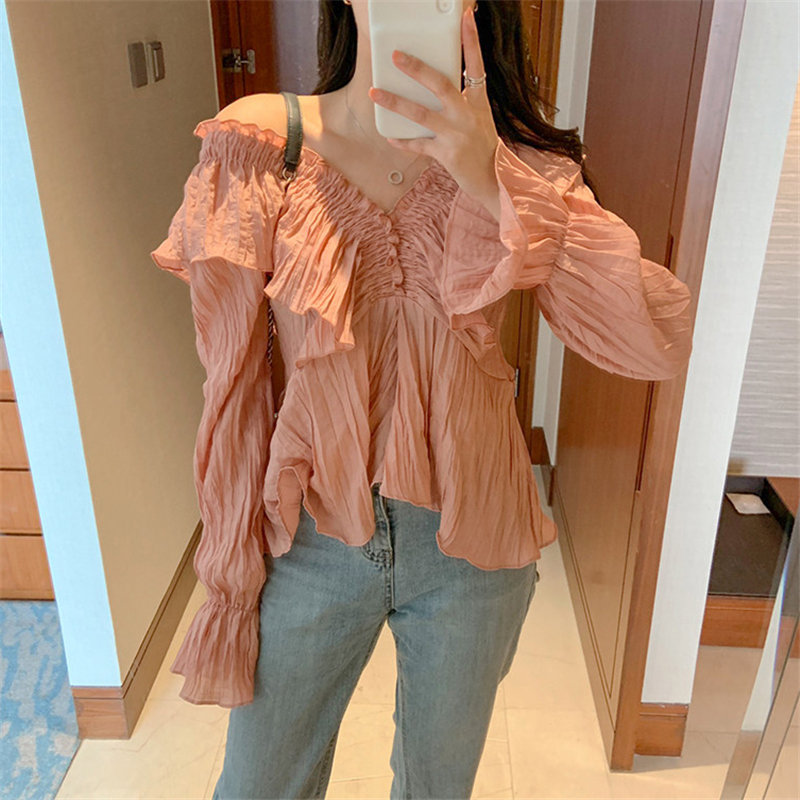 Alien Kitty Chic Gentle Solid Chiffon Sexy V-Neck Flare Sleeves 2020 Pleated Ruffles Sweet New Design Shirts All Match Blouses