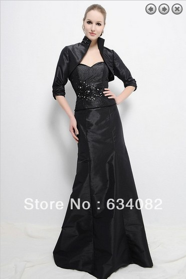 Free Shipping 2014 Womens Elegant Dress Plus Size Vestidos Formales Long Sleeve Black Mother Of The Bride Dresses With Jacket
