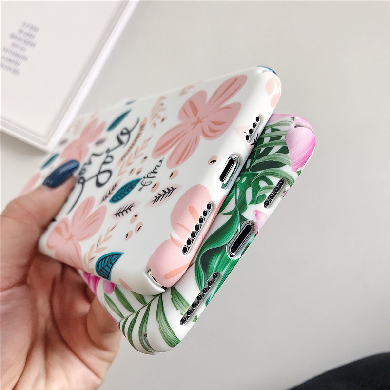 Fashion Luminous flower leaf Phone Cases For iPhone 7 8 6 6S Plus X Frosted Hard Phone Case For iPhone XS XR XS Max Back Cover in Fitted Cases from Cellphones Telecommunications