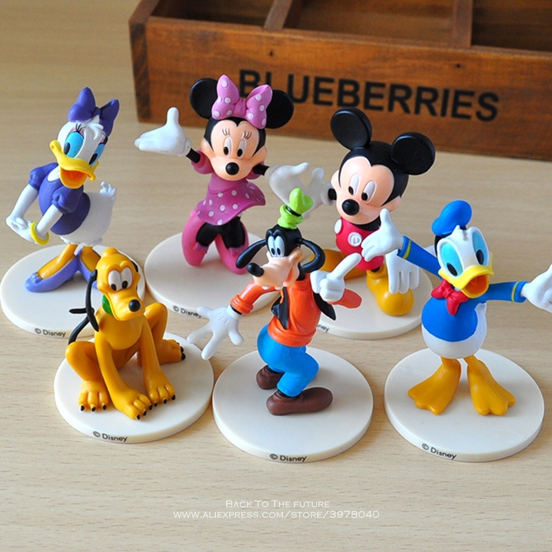 Disney Mickey Mouse Minnie 6pcs/set 6-7cm Action Figure Posture Anime Decoration Collection Figurine Toy Model For Children Gift