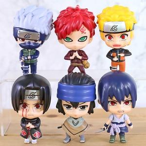 Naruto Shippuden Q Version Naruto Kakashi Gaara Itachi Sasuke ПВХ фигурки Куклы с большой головой игрушки 6 шт./компл.