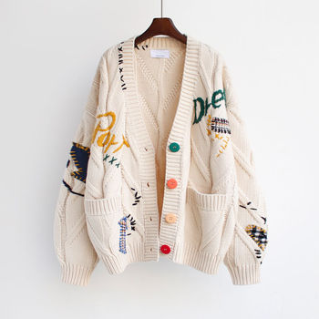 2020 Autumn Winter Women Cardigan Warm Knitted Sweater Jacket Pocket Embroidery Fashion Knit Cardigans Coat Lady Loose Sweaters 1