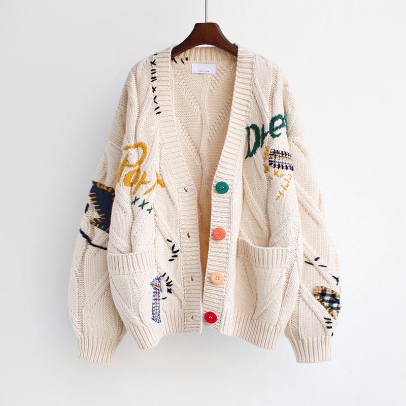 Женский вязаный кардиган с карманами, Свободный теплый кардиган с вышивкой, Осень-зима 2020