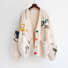 2020 outono inverno mulheres cardigan quente de malha camisola jaqueta bolso bordado moda malha cardigans casaco senhora blusas soltas