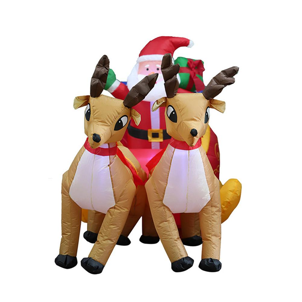 220cm Giant Inflatable Santa Claus Double Deer Sled Blow Up Fun Toys For Child Christmas Gifts Halloween Party Prop LED Lighted - 2