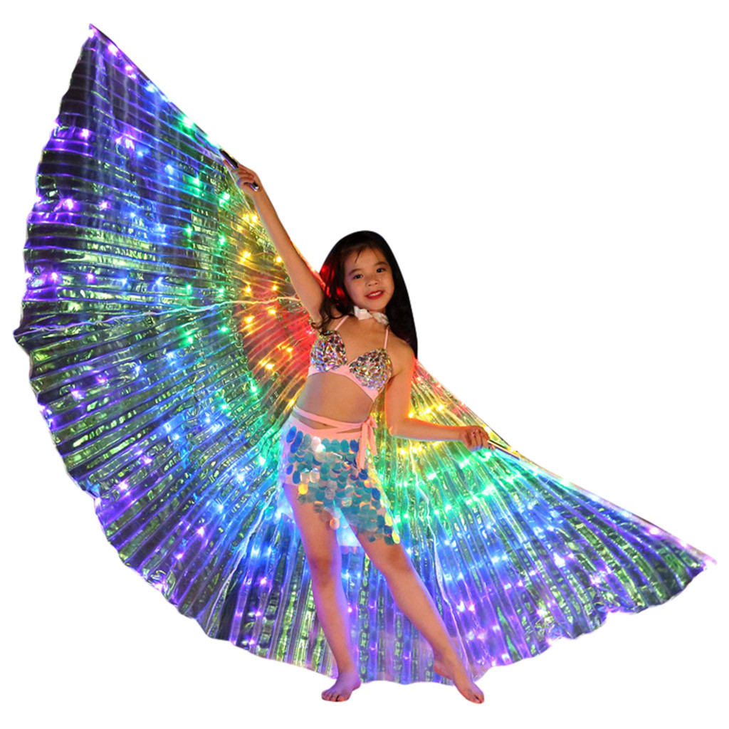 Children LED Belly Dance Wings Colorful Butterfly Wings With Telescopic Stick Stage Dance Wear Dance Costume Roupa Feminina