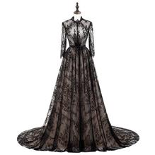 Sexy Black Sheer Neck Lace Prom Dresses Long Jewel Illusion Long Sleeves Evening Dress Count Train Celebrity Party Gowns black cutout details crew neck long sleeves sheer shirt