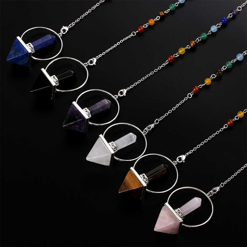 天然石振り子六角柱ピラミッドレイキ石白ピンク水晶黒曜石ペンダントジュエリーファッションアクセサリー