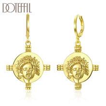 DOTEFFIL 925 ayar gümüş klasik çapraz kafa 18k altın küpe kadınlar takı için moda takı düğün parti hediye