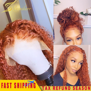 Ginger Wig Orange 13x6 lace front Human Hair Wigs for Women Curly Deep Water Wave Wig Colored Glueless PrePlucked With Baby Hair(China)