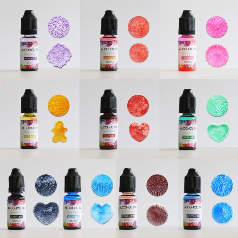 24 Colors 10ML Art Ink Alcohol Resin Pigment Kit Liquid Resin Colorant Dye Ink Diffusion UV Epoxy Resin Jewelry Making 4