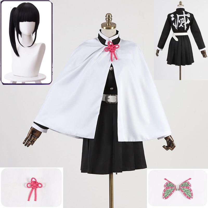 Custom Made Demon Slayer Kimetsu No Yaiba Tsuyuri Kanawo Battle Suit Team Uniform Cosplay Costume Halloween Cos Wigs Props
