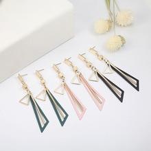 Autumn and winter new hollow Earrings female Korean temperament long geometric triangle color pendant earrings