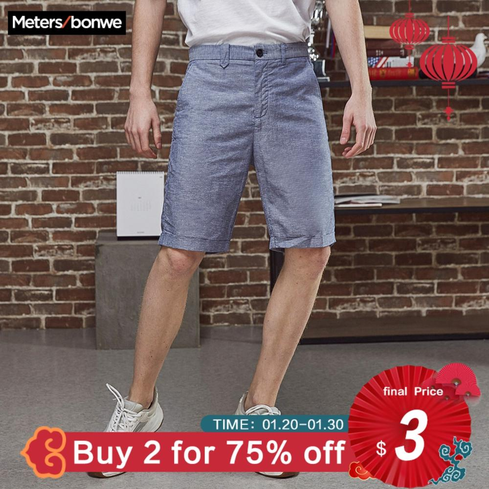 Metersbonwe Men's Summer Casual Short Pants Cotton Line Fashion Vintage Business Shorts Solid Color Breathable Plus Size