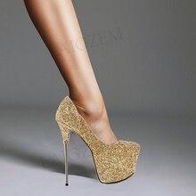 LAIGZEM CHIC Women Heels Bling Glitter 16CM Metal Stiletto Plaform Pumps SuperParty Wedding Ladies Shoes Woman Big Size 33 42 43