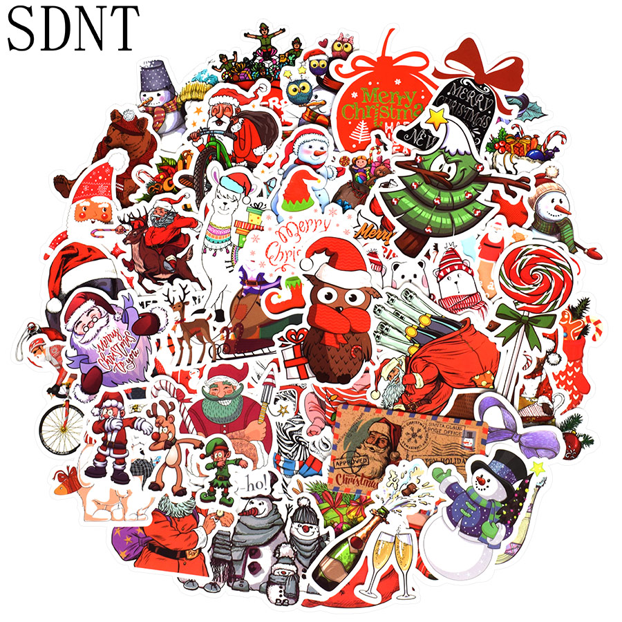 50 PCS Christmas Sticker Cute Animal Santa Claus Cartoon Stickers Gift For Kids DIY Laptop Water Bottle Scrapbooking Cards Decor