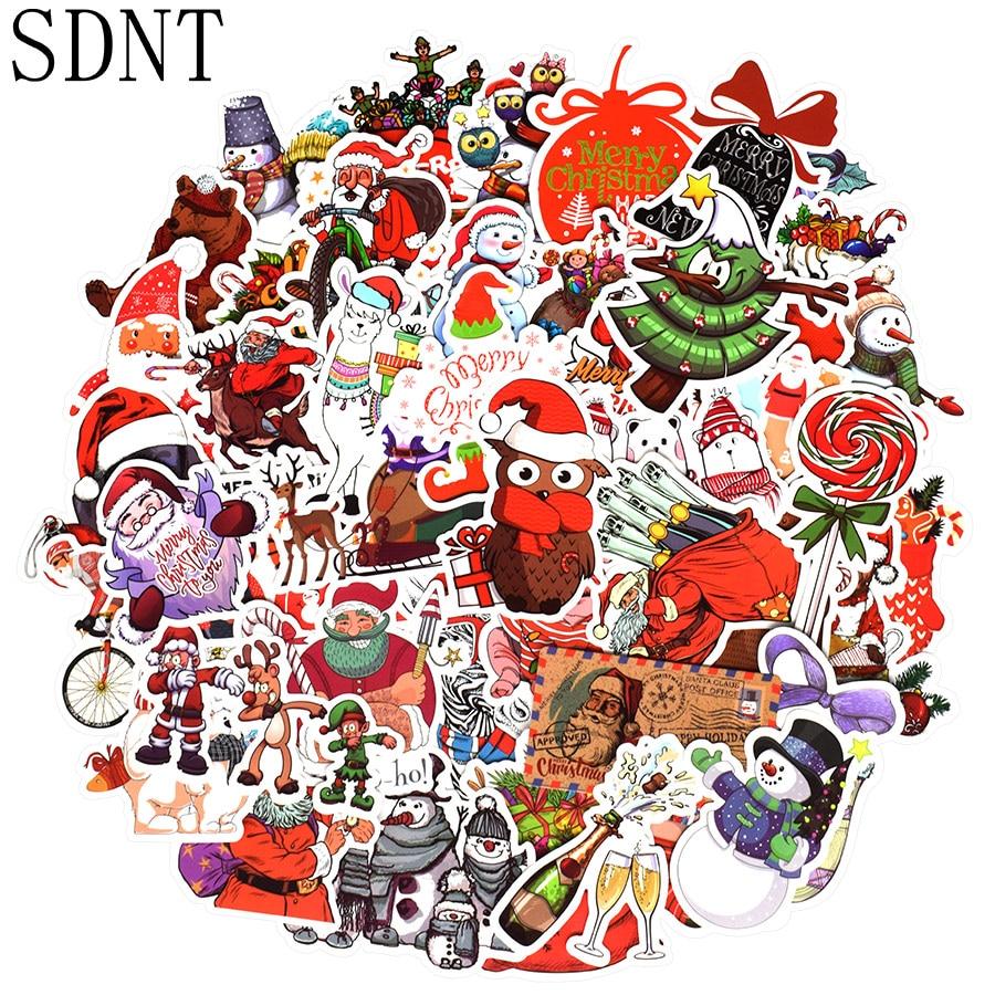 50 PCS Christmas Sticker Cute Animal Santa Claus Cartoon Stickers Gift For Kids DIY Laptop Water Bottle Scrapbooking Cards Decor