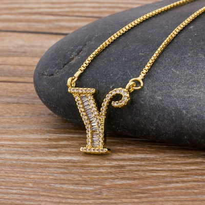 Luxury Gold Color A-Z 26 Letters Necklace CZ Pendant for Women Cute  Initials Name Necklace Fashion Party Wedding Jewelry Gift 17