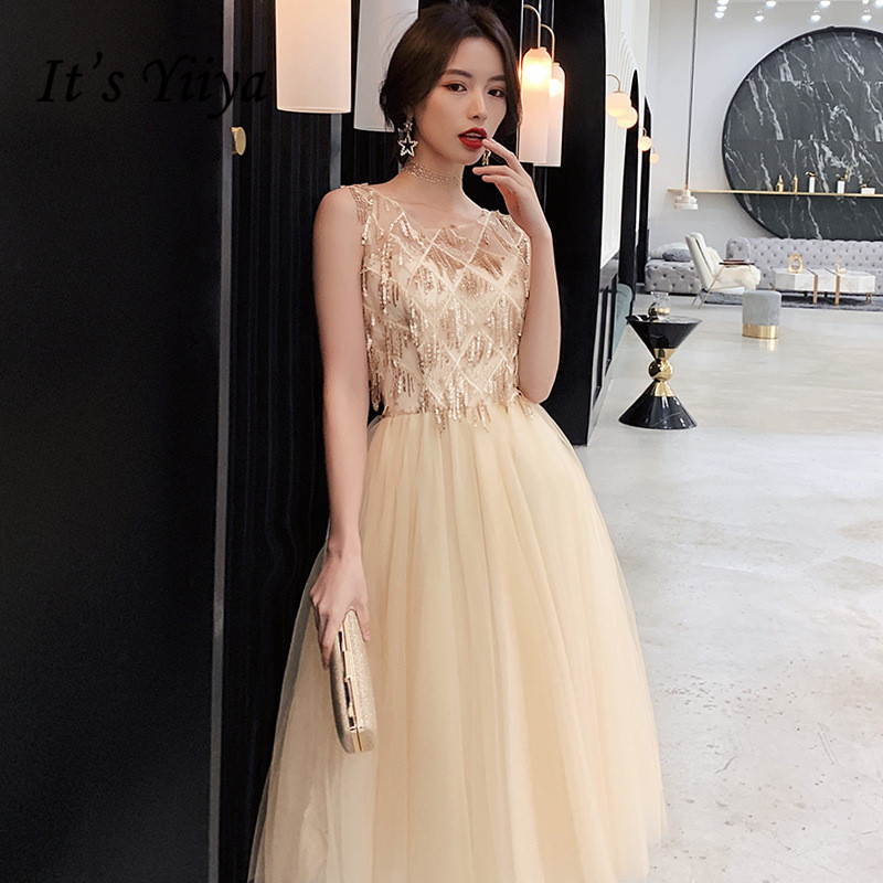 It's Yiiya Champagne Prom Dresses Elegant O-neck Sequined Tassel Formal Party Gowns Sleeveless Vestidos De Fiesta K264
