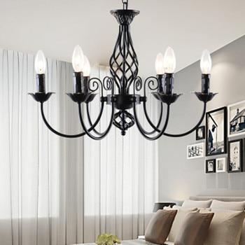 black Chandeliers lamp lustres Modern dining Living Room hotel Indoor light Decoration wrought iron chandeliers lighting