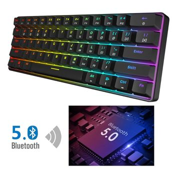 RGB Backlit Bluetooth 5.0 Wireless Dual Mode Mechanical Keyboard,Portable Compact Waterproof Mini Gaming 61 Gateron Keys