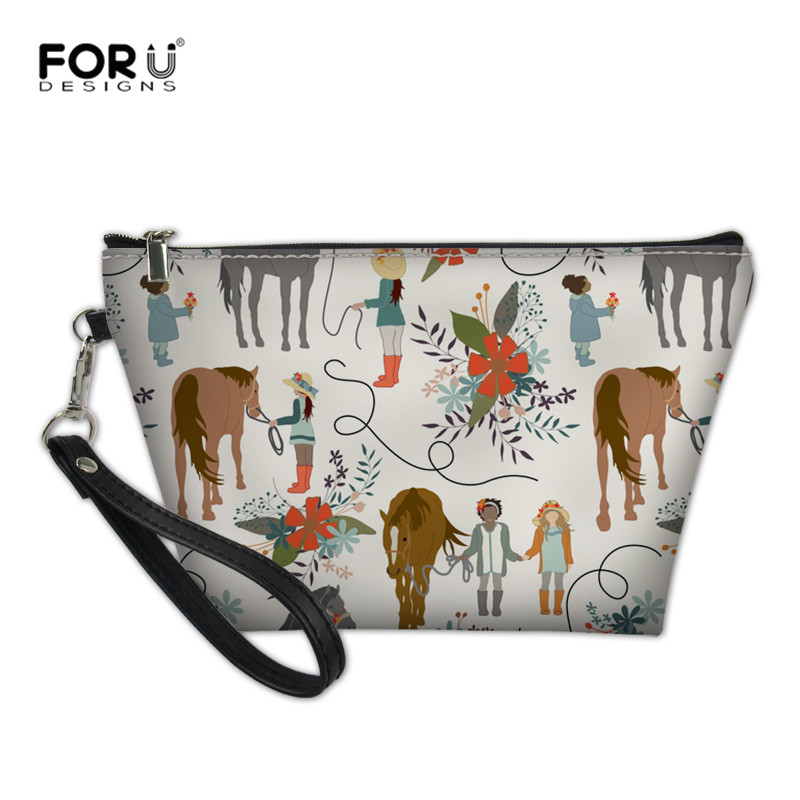 FORUDESIGNS Horses And Girls Cosmetic Bag For Women Neceser Makeup Pouch Portable Bag Organizer Toiletry Trousse De Toilette